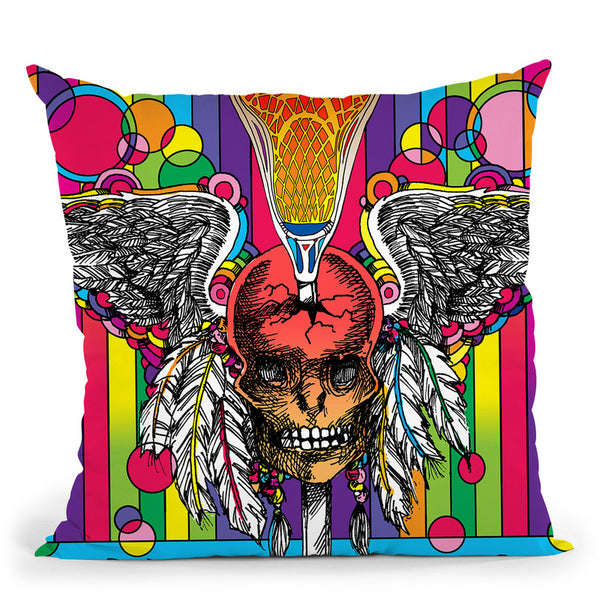 Lacrosse Skull Throw Pillow By Howie Green - All About Vibe