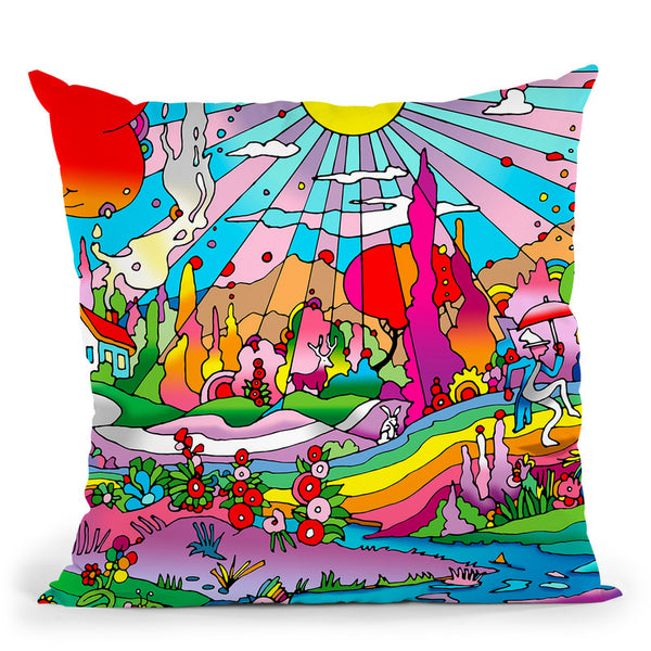 Red Roof Cottage Landscape Throw Pillow By Howie Green - All About Vibe