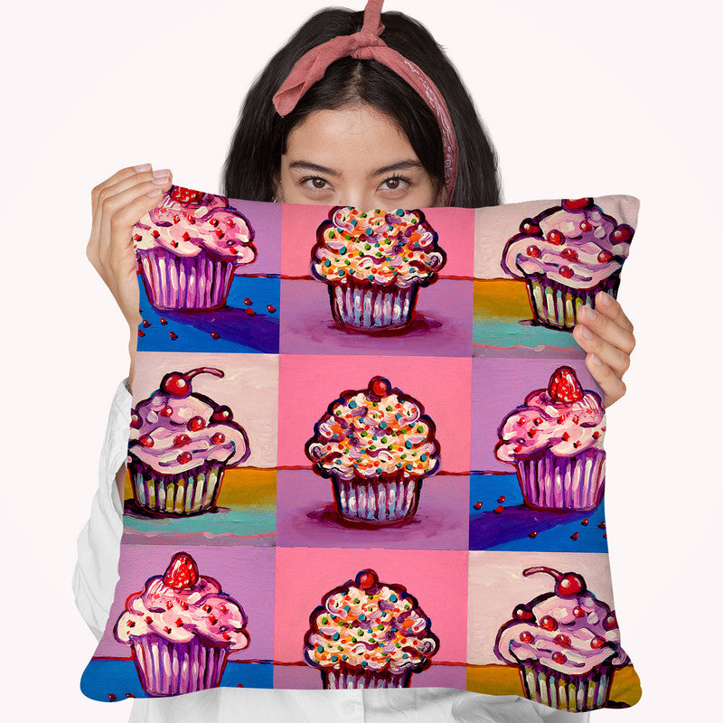 3 Cupcakes Throw Pillow By Howie Green - All About Vibe