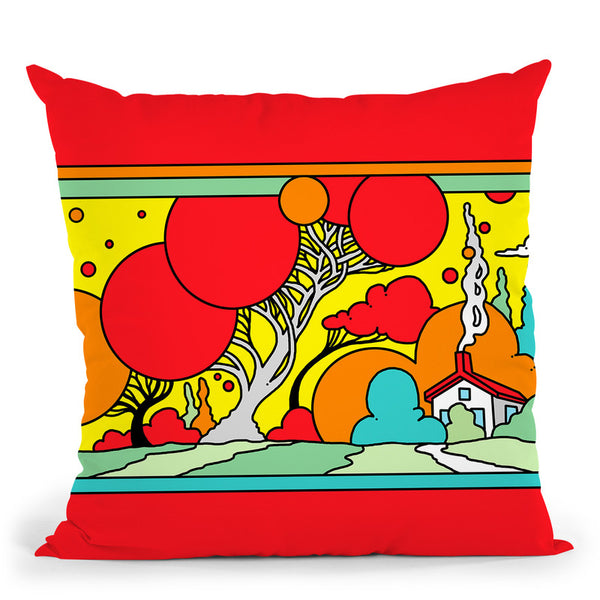 Red Tree Landscape Throw Pillow By Howie Green - All About Vibe