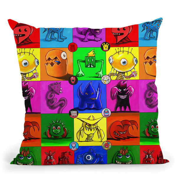 Monsters Throw Pillow By Howie Green - All About Vibe