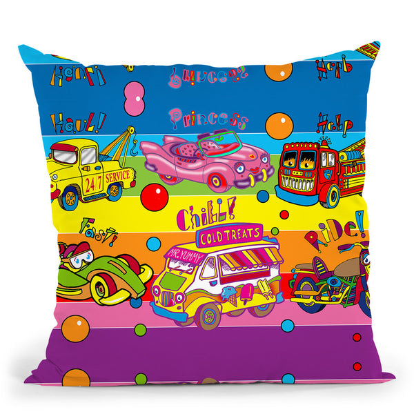 Pop Vehicles Throw Pillow By Howie Green - All About Vibe
