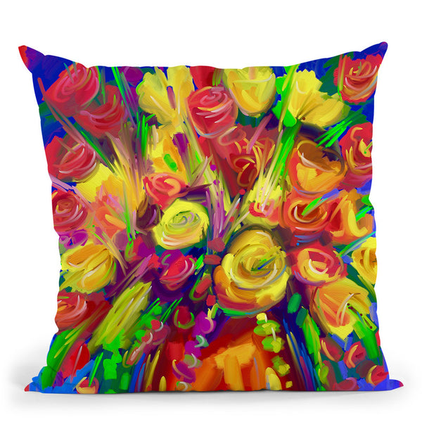 Pop Flowers 215 Throw Pillow By Howie Green - All About Vibe