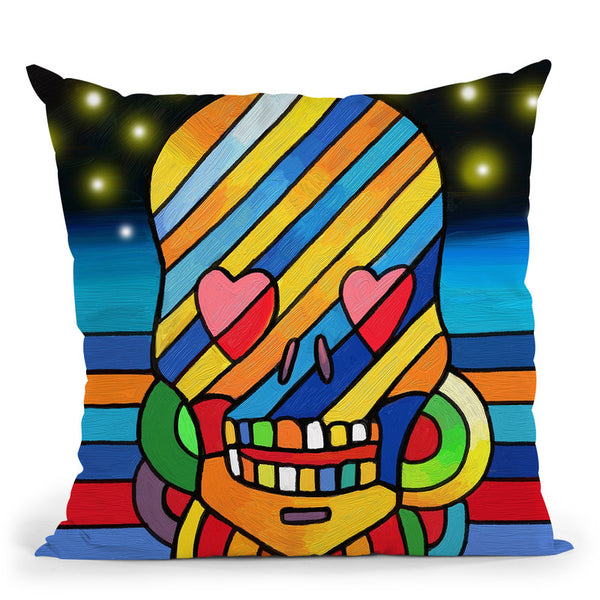 Pop Skull Stripes Throw Pillow By Howie Green - All About Vibe