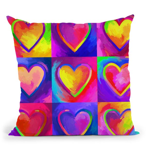 Pop Art Heart 2 Throw Pillow By Howie Green - All About Vibe
