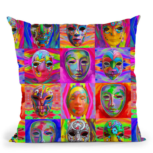 Pop Art Masks Throw Pillow By Howie Green - All About Vibe