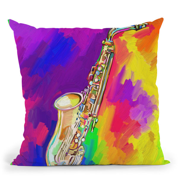 Saxophone Throw Pillow By Howie Green - All About Vibe