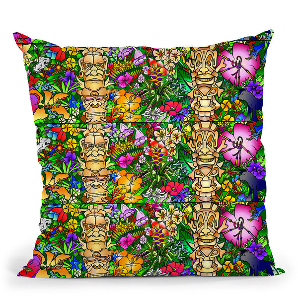 Tiki Gods Throw Pillow By Howie Green - All About Vibe