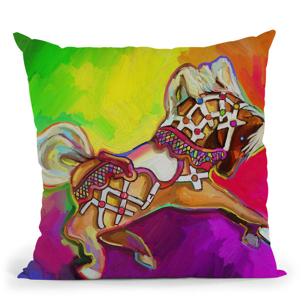 Carousal Pony Throw Pillow By Howie Green - All About Vibe