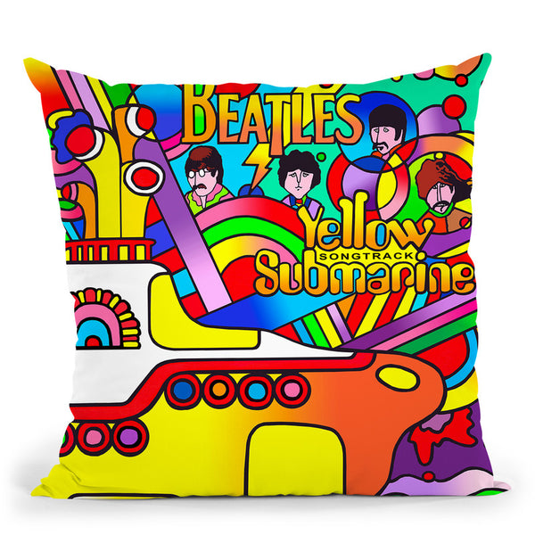 Yellow Submarine Throw Pillow By Howie Green - All About Vibe