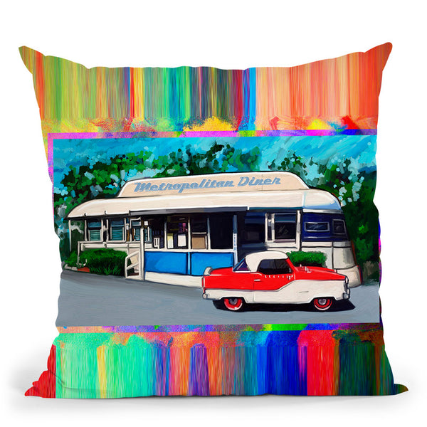 Metropolitan Diner Throw Pillow By Howie Green - All About Vibe
