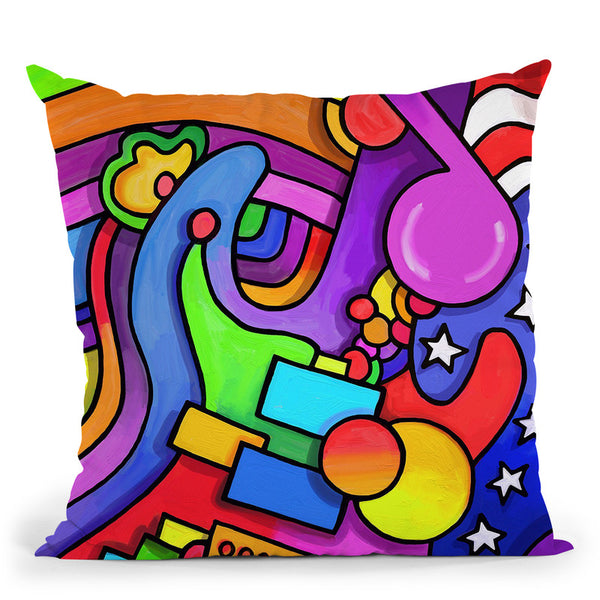 Pop Art Guitar Note Throw Pillow By Howie Green - All About Vibe