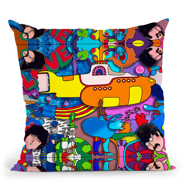 Beatles Yellow-Sub Throw Pillow By Howie Green - All About Vibe