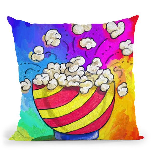 Pop-Art Popcorn Bowl Throw Pillow By Howie Green - All About Vibe