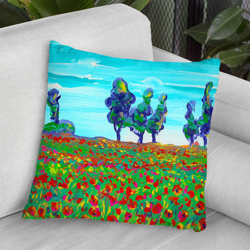 6 Poppy Field Throw Pillow By Howie Green - All About Vibe