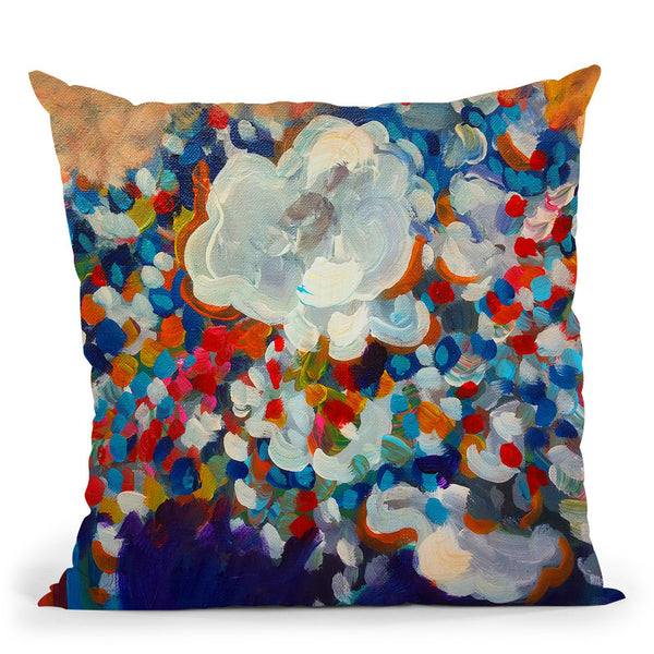 6 White Flowers Throw Pillow By Howie Green - All About Vibe