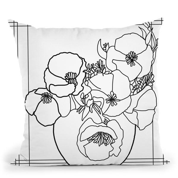 Poppy Bowl Lineart Throw Pillow By Howie Green - All About Vibe