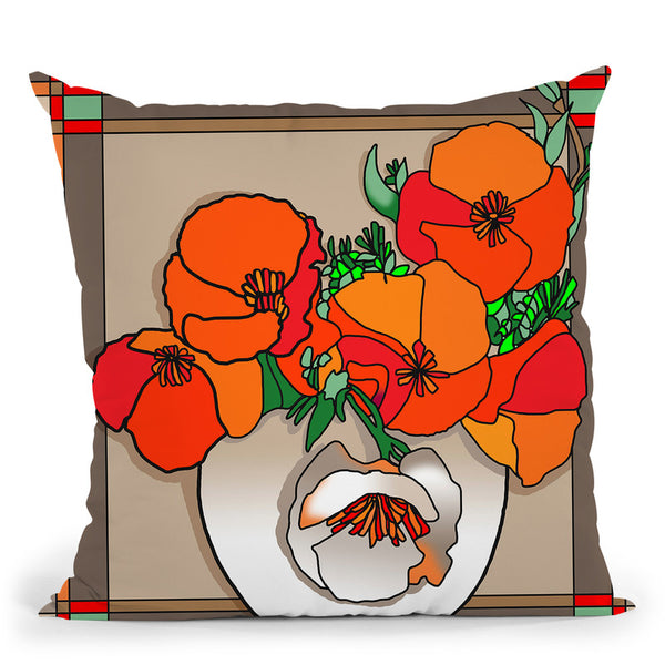 Poppy Bowl Throw Pillow By Howie Green - All About Vibe