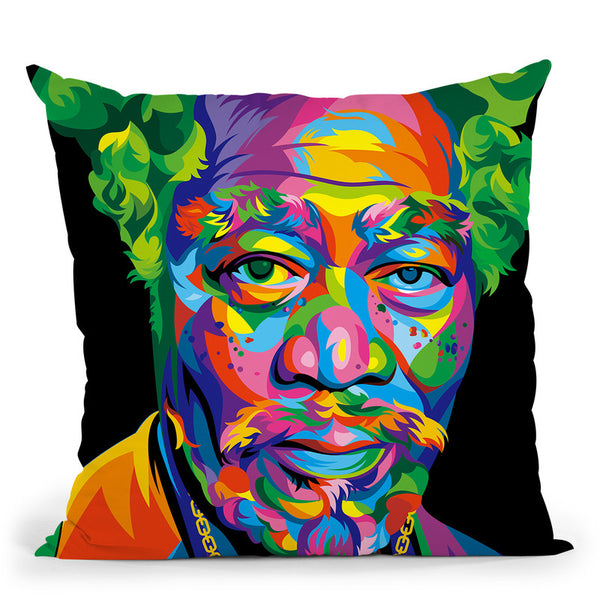 Morgan Freeman Throw Pillow By Bob Weer - All About Vibe