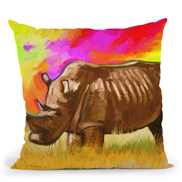 Rhino 2 Throw Pillow By Howie Green - All About Vibe