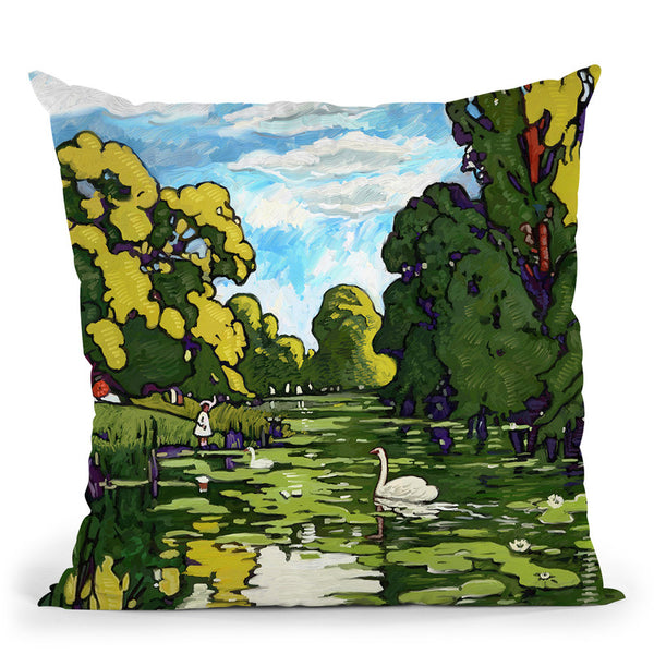 Pop London Landscape Gardens Throw Pillow By Howie Green - All About Vibe