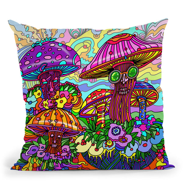 Pop-Art-Mushrooms Throw Pillow By Howie Green - All About Vibe