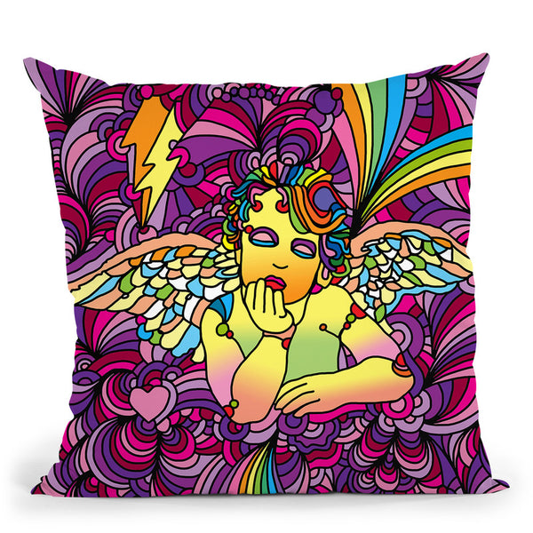 Pop-Art-Cherub-1 Throw Pillow By Howie Green - All About Vibe