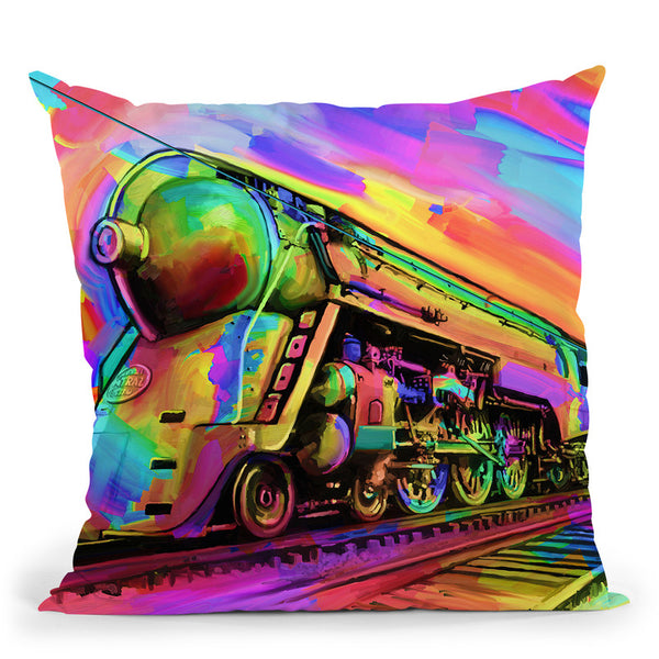 Pop-Art-Train Throw Pillow By Howie Green - All About Vibe