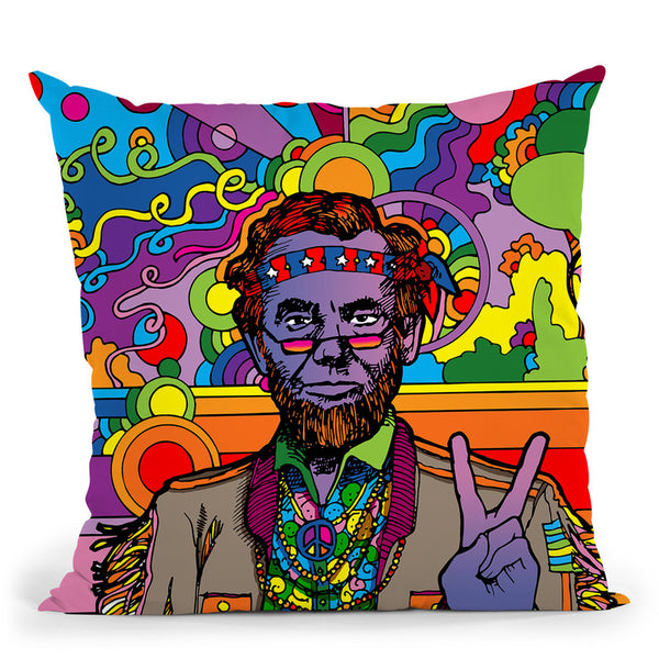 Psychedelic-Abe Throw Pillow By Howie Green - All About Vibe
