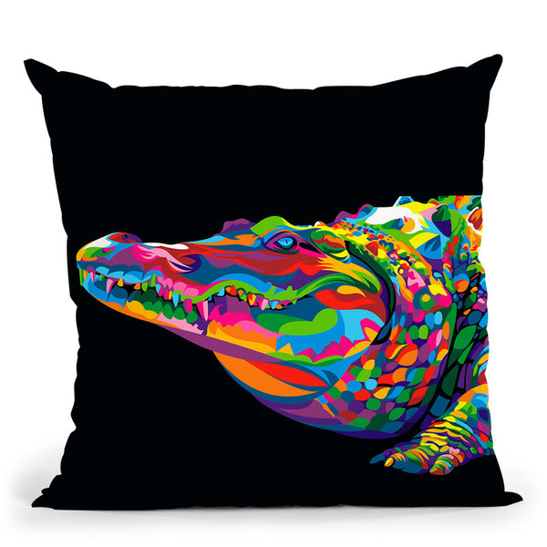 Crocodile Smile Throw Pillow By Bob Weer - All About Vibe