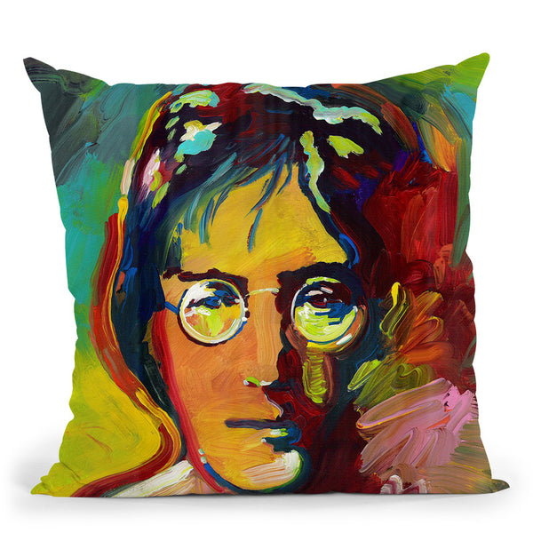 John Lennon Throw Pillow By Howie Green - All About Vibe