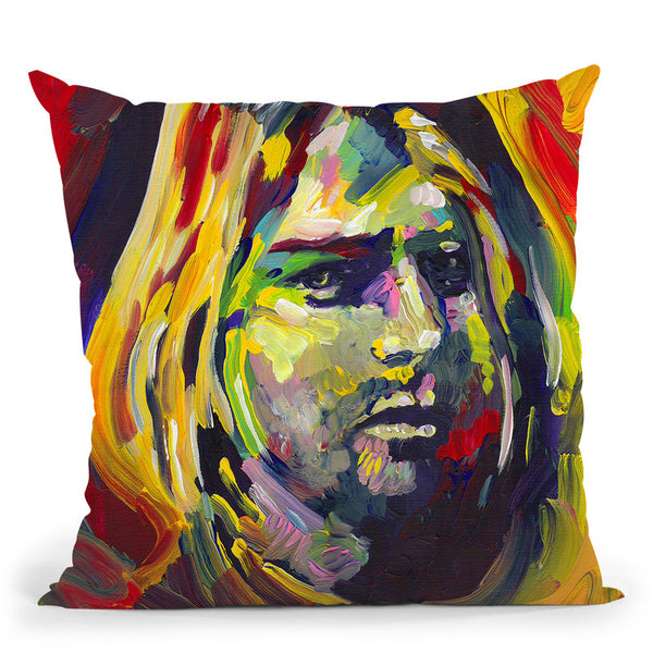 Kurt Cobain Throw Pillow By Howie Green - All About Vibe