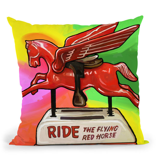 Pop-Art-Flying-Horse-Ride Throw Pillow By Howie Green - All About Vibe