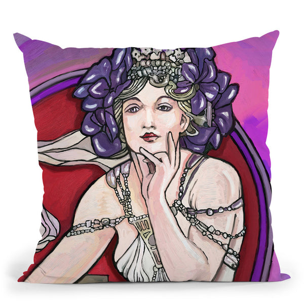 Pop-Art-Mucha-Lady-217 Throw Pillow By Howie Green - All About Vibe