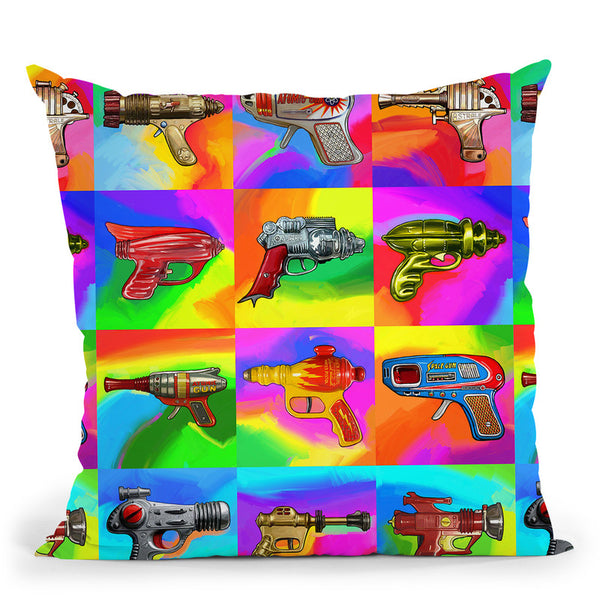 Pop-Art-Space-Guns Throw Pillow By Howie Green - All About Vibe