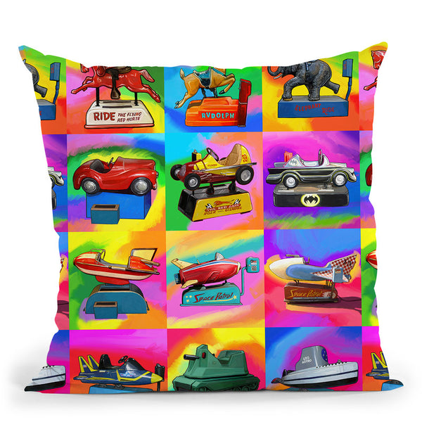Pop-Art-Kiddie-Rides Throw Pillow By Howie Green - All About Vibe