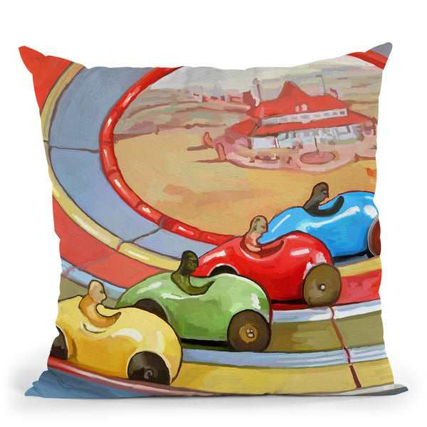 Pop-Art-Retro-Toy-Race-Cars Throw Pillow By Howie Green - All About Vibe