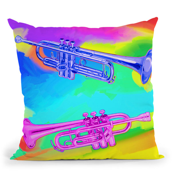 Pop-Art-Trumpets Throw Pillow By Howie Green - All About Vibe