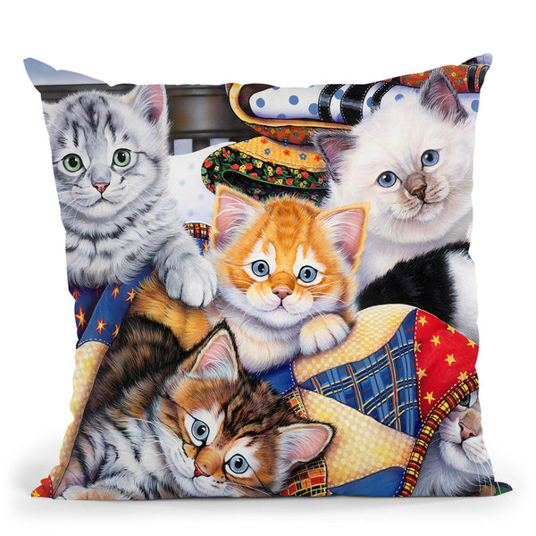 Cozy Kittens Throw Pillow By Jenny Newland - All About Vibe