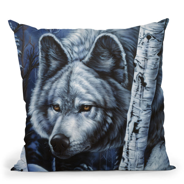 White Wolf Throw Pillow By Jenny Newland - All About Vibe