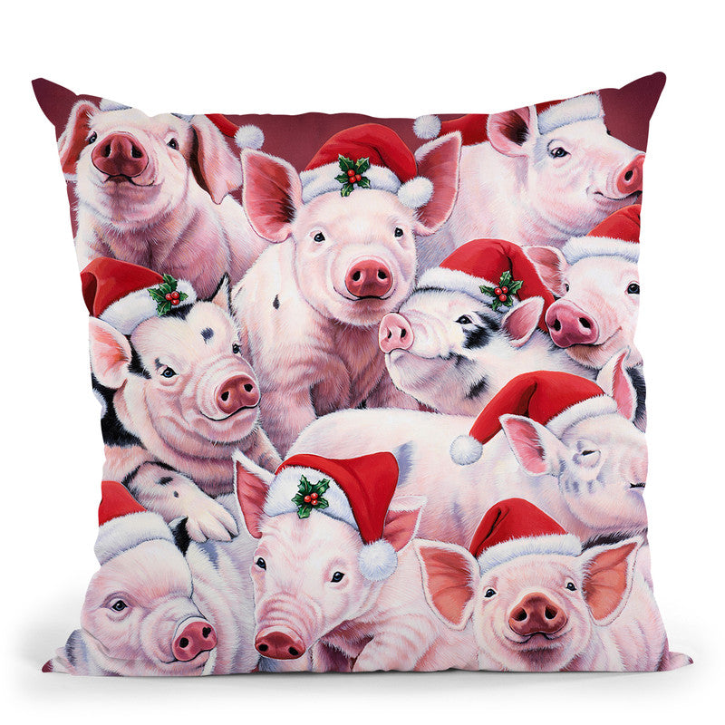 Christmas Piggies Throw Pillow By Jenny Newland - All About Vibe