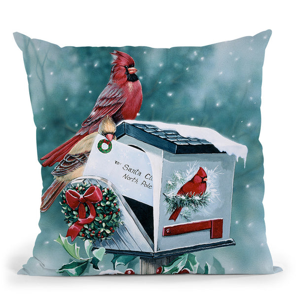 Christmas Cardinals Throw Pillow By Jenny Newland - All About Vibe