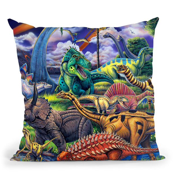 Dinosaur Friends Throw Pillow By Jenny Newland - All About Vibe