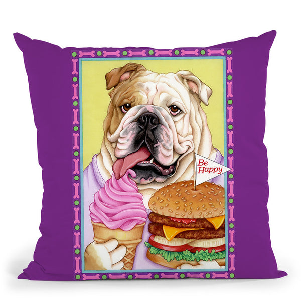 Bulldog Hamburger Throw Pillow By Tomoyo Pitcher - All About Vibe