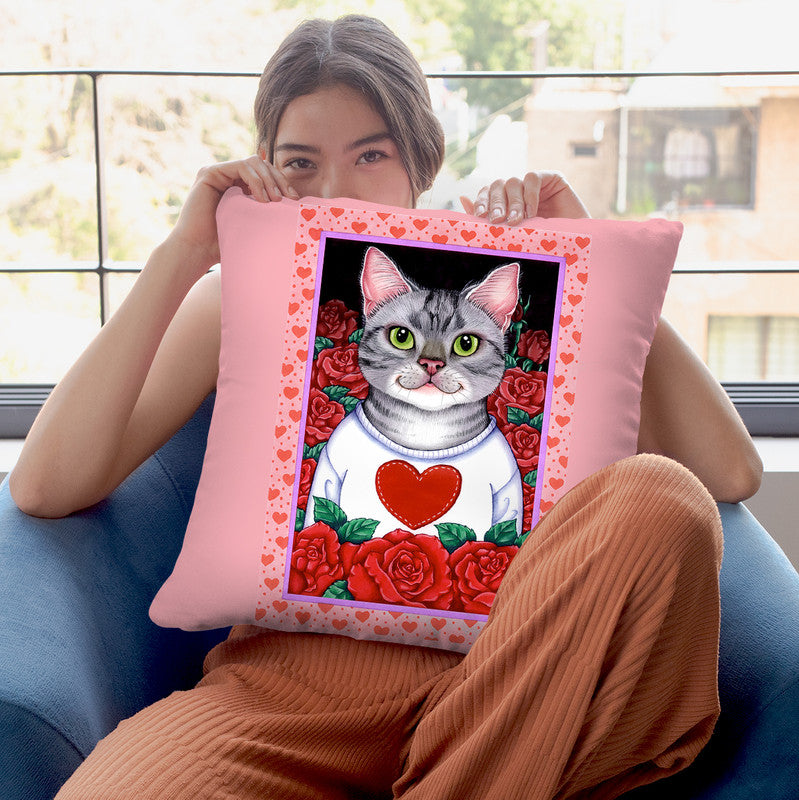 Cat Roses Throw Pillow By Tomoyo Pitcher - All About Vibe