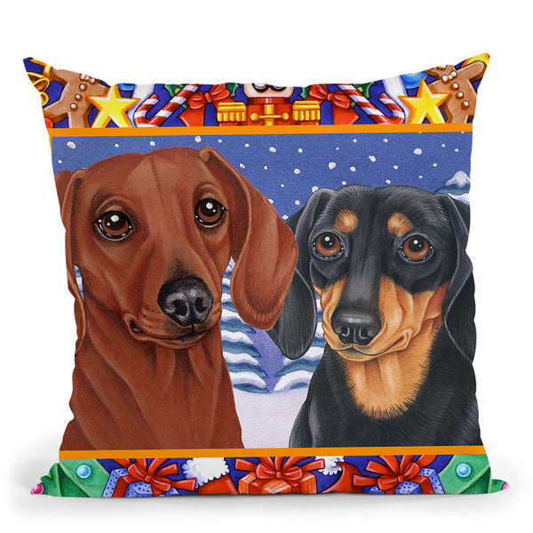 Christmas Border Throw Pillow By Tomoyo Pitcher - All About Vibe