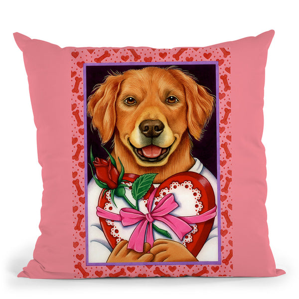 Golden Retriever Chocolate Box Throw Pillow By Tomoyo Pitcher - All About Vibe