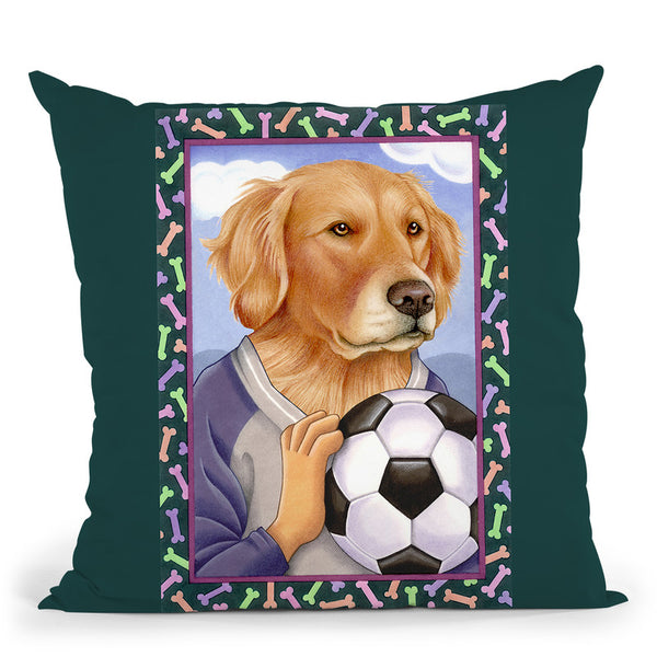 Golden Retriever Soccer Ball Throw Pillow By Tomoyo Pitcher - All About Vibe