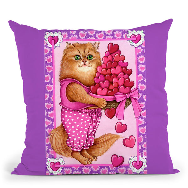Persian Cat Bowl Of Hearts Throw Pillow By Tomoyo Pitcher - All About Vibe