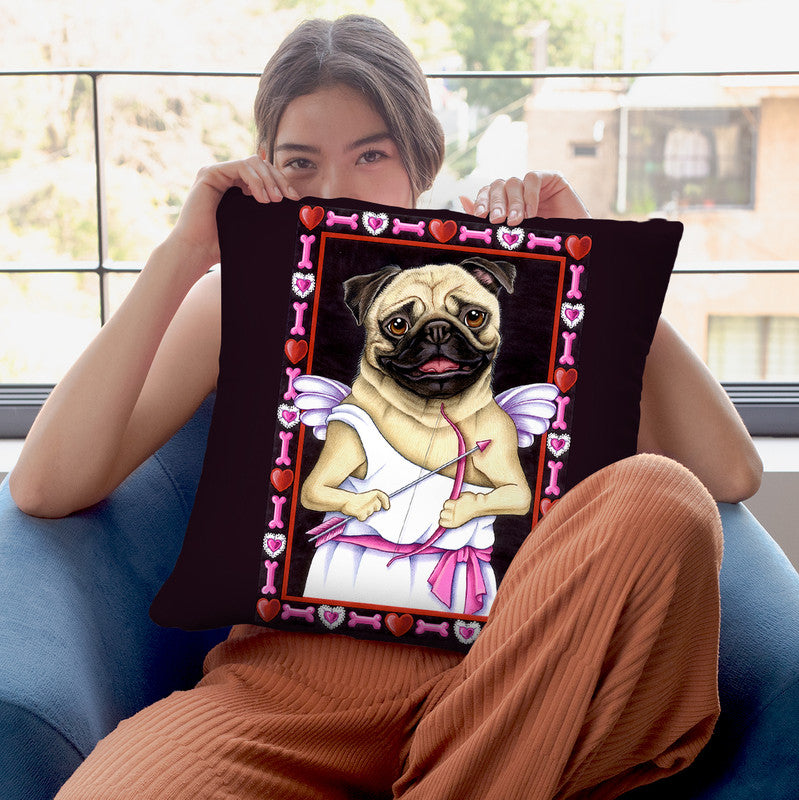 Pug Cupid Throw Pillow By Tomoyo Pitcher - All About Vibe